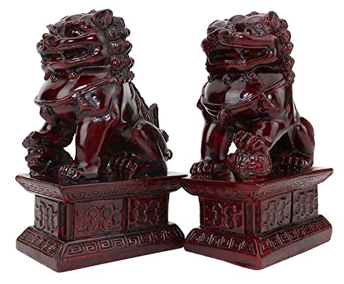 """Feng Shui 4"""" Red Fu Foo Dog Guardian Lions Wealth Protection Statue Figurine Housewarming Congratulatory Gift (Red 4"""" Foo Dog A10034) ~ We Pay Your Sales Tax"""