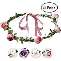 ETEREAUTY 5 Pack Wreath Headband Garland Headbands for Wedding Festival Party