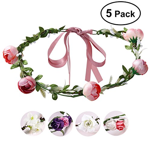 Wedding Flower Crown, ETEREAUTY Women Girl Flower Headband Hair Wreath for Weddings, Festivals, Parties, Cosplay -- Pack of 5