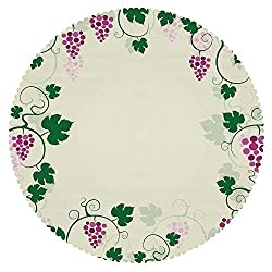 iPrint Upscale Round Tablecloth [ Nature,Grape Vines Framework Fruit Garden Curvy Branches Leaves Vintage Illustration,Pink Purple Green ] Decorative Tablecloth Ideas