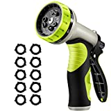 VicTsing Garden Hose Nozzle, Hose Spray Nozzle with 9 Patterns, Heavy-Duty Nozzle for Hose Under High Pressure, Metal Body and Slip Resistant for Watering,Washing Car,and Showering Pets, Green