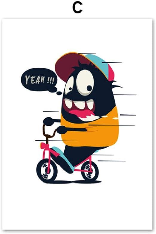 Monstruo de dibujos animados Boxeo Bicicleta Leche Arte de la ...