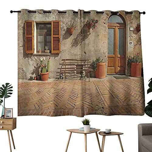 NUOMANAN Curtains for Bedroom Tuscan,Medieval Facade Rustic Wooden Door Ancient Brick Wall in Small Village,Tan and Pale Cinnamon,Complete Darkness, Noise Reducing Curtain 42