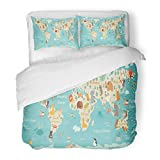 SanChic Duvet Cover Set Animals World Map for Children Kids Continent Sea Life South America Eurasia North Africa Australia Decorative Bedding Set with 2 Pillow Shams King Size
