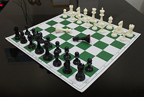 17 Inch Chess Set (17'' x 17'' Tournament Chess Set With Plastic Staunton Solid Pieces - Ideal for Professional Players)