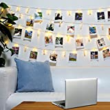 LED Photo Clip String Light – 40 Clear Clips, 13 ft, Warm White, for Fairy Indoor Home Décor Bedroom College Dorm Halloween Christmas Birthday Wedding Party– for Hanging Pictures Cards (USB Powered)