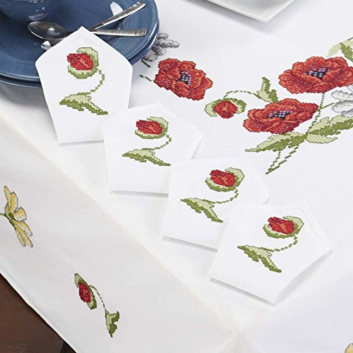 Napkins Stamped Embroidery - Craftways® Summer Glory Napkins Stamped Cross-Stitch