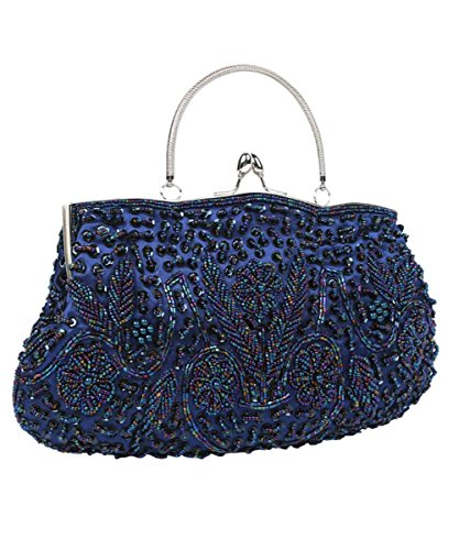 iToolai Satin Purse Evening Handbags Wedding Bag Beaded Sequins Clutch (Royal Blue)
