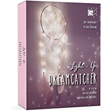Light Up Dream Catcher Decoration - Pink and White Bedroom Accessory - with Warm LED String Lights - Girls Hanging Dreamcatcher