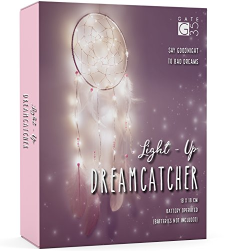 Light Up Dream Catcher Decoration - Pink and White Bedroom Accessory - with Warm LED String Lights - Girls Hanging Dreamcatcher ()