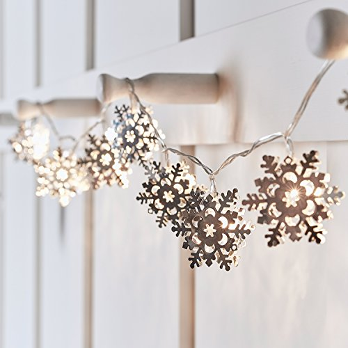 10 Silver Snowflake Battery Operated LED Indoor Christmas String Lights for $<!--$13.99-->