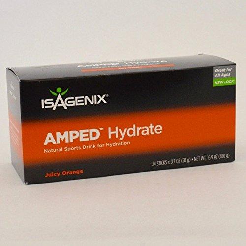 Isagenix AMPED Hydrate Natural Sports Drink Mix Juicy Orange 24 Sticks,X0.7oz(20g) Net wt-16.9 OZ