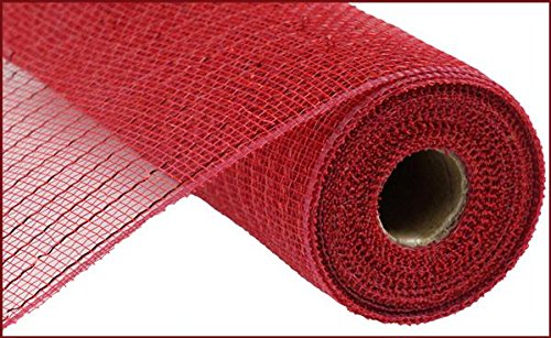 10 inch x 30 feet Deco Poly Mesh Ribbon - Value Mesh (Cranberry, Red Foil) -