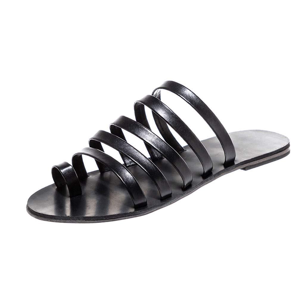 Women's Roman Shoes Fashion Strip Peep Toe Flat Slippers Lightweight Beach Sandals