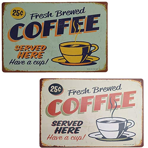 HAN SHENG 2 Pcs Retro Fresh Brewed Coffee Served Here Have A Cup Vintage Tin Sign Posters Kitchen Cafe Diner Restaurant Wall Decoration (Green, Red)