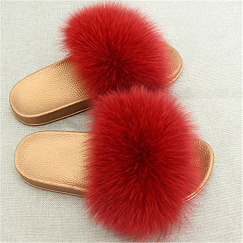 Fashion Red Qmfur Wine Soft Flat Slippers Women For Slides Fox Summer Shoes Girls Real Fur Glod XqZXr