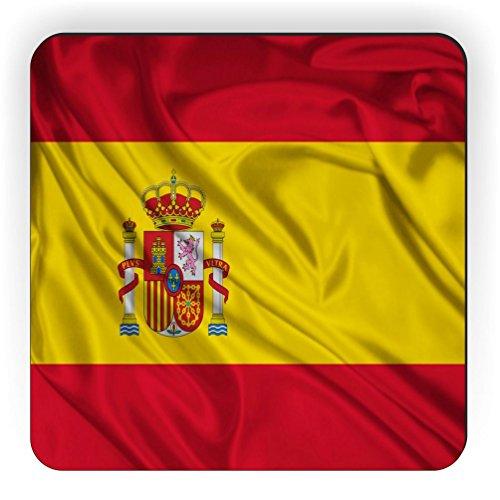 Rikki Knight Spain Flag Design Square Fridge Magnet by Rikki Knight
