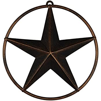 Texas Metal Star Wall Decor Rustic Metal Circled Lone Star(3 Pack)