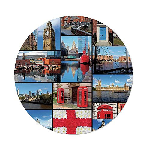 iPrint Polyester Round Tablecloth,England,England City Red Telephone Booth Clock Tower Bridge River British Flag with Flowers,Blue Red,Dining Room Kitchen Picnic Table Cloth Cover,for Outdoor (Mission Style Telephone Table)