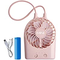 Mini Bunny Fan Rechargeable Battery USB Desk Electric Personal Fan Wireless Table Cooling Fan with LED Light Adjustable 3 Modes Wind Speed for Office, Home, Outdoor