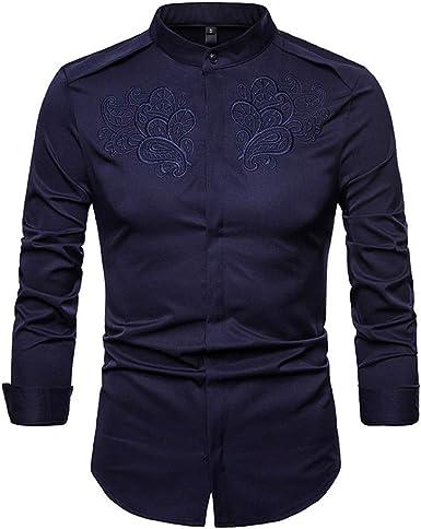 d.Stil - Camisa de manga larga para hombre, cuello delgado, fácil de planchar, transpirable, para negocios, ocio, boda, Tuxedo