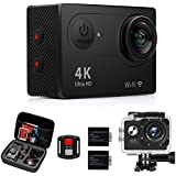 MILSENSE Action Camera, Waterproof Sport Camera wifi 4k ultra HD 170 degree Wide Angle 2 Inch LCD Screen 2 Rechargeable Batteries Free Travel Bag Include Accessories Kits