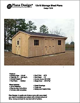 12u0027 X 18u0027 Saltbox Style Storage Shed Project Plans  Design #71218    Woodworking Project Plans   Amazon.com