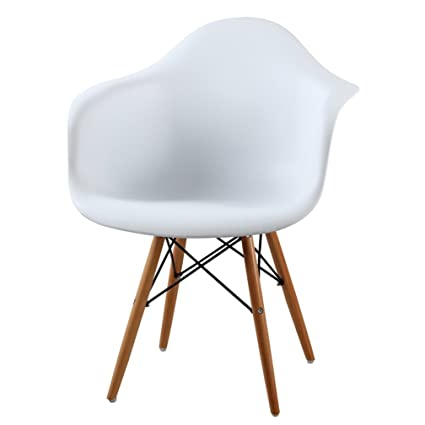 1 X High Quality Eames Style Classic DAW Dowel Dining Lounge Arm Chair    White