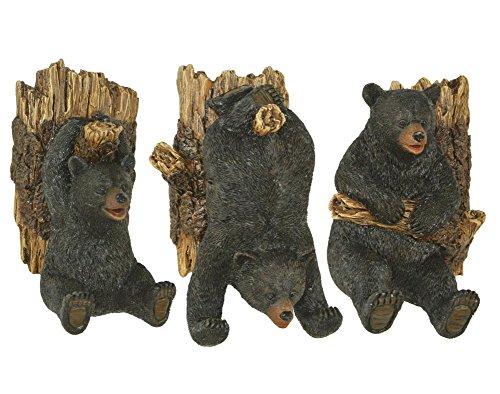 - Set of Three Resin Black Bear on Logs Wall Hooks -Lodge Decor
