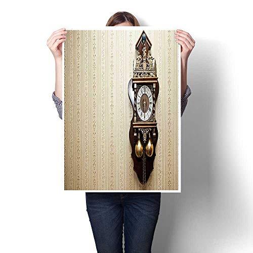 Canvas Wall Art,an Antique Wood Carving Clock ()