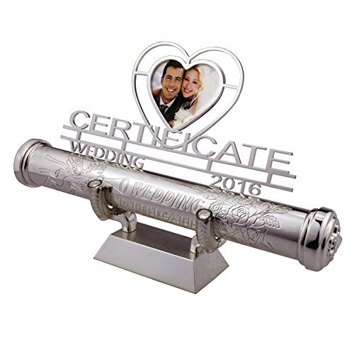 Certificate Holder,FGF Silver Plated Engraved Keepsake Baptism Marriage Certificate Holder with Stand and Heart Frame 9-Inch RKS-PCH011