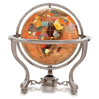 Kalifano Copper Amber 4-in. Commander Gemstone Tabletop Globe