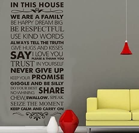 Quote Words in This House We Are a Family Wall Decals Removable ...