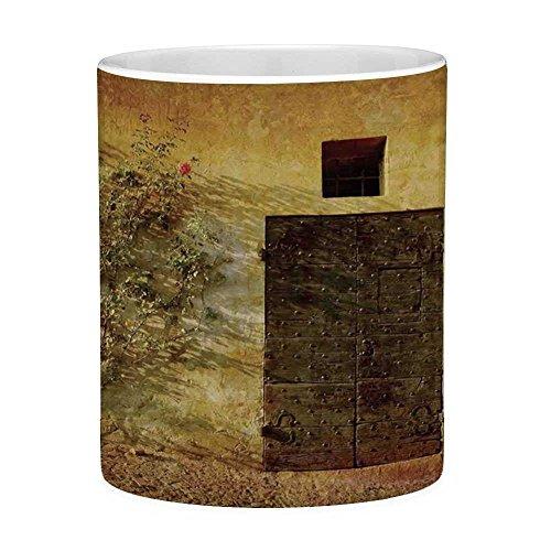 Lead Free Ceramic Coffee Mug Tea Cup White Rustic Decor 11 Ounces Funny Coffee Mug Historical Artistic Italian Door of Stone House Mediterranean Picturesque Heritage Photo Cream Brow