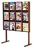 Wooden Mallet Divulge 12 Magazine Floor Display, Mahogany