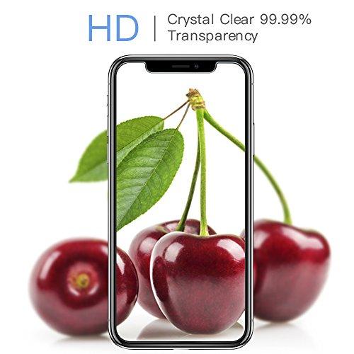 [2 Unidades] Protector de Pantalla iPhone X, Senisttech 9H Dureza Cristal Vidrio Templado Para iPhone X, 0.33mm Ultra Transparencia HD, 3D Touch Compatibles, Instalación Fácil