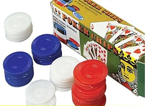 100 Plastic Poker Chips - Red White Blue (Fart Bombs 100)