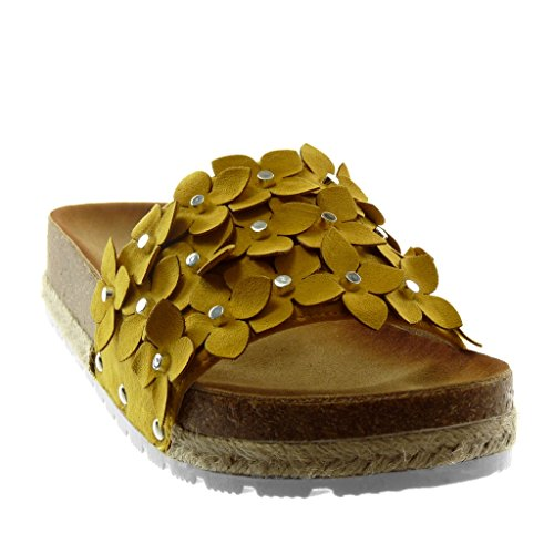 Slip Yellow on Pearl Platform Mules Flowers Sandals Women's Angkorly Platform Wedge Shoes 6 Fashion Cord cm xqUgcZX