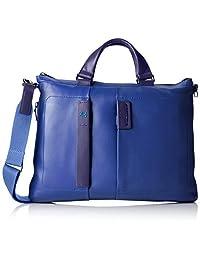 Piquadro Expandable Computer Portfolio Briefcase with iPad Mini Pocket, Blue, One Size
