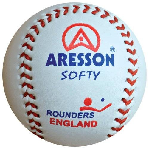 Aresson Softy Practice Leather Rounders Ball White 19cm