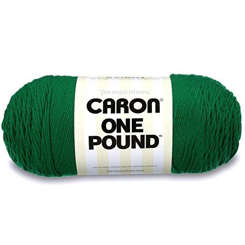 Caron  One Pound Solids Yarn - (4) Medium Gauge 100% Acrylic - 16 oz -  Kelly Green- For Crochet, Knitting & Crafting -