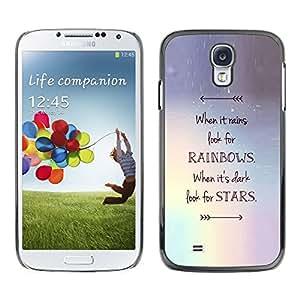 Estrellas Flecha Rainbows motivación- Metal de aluminio y de plástico duro Caja del teléfono - Negro - Samsung Galaxy S4
