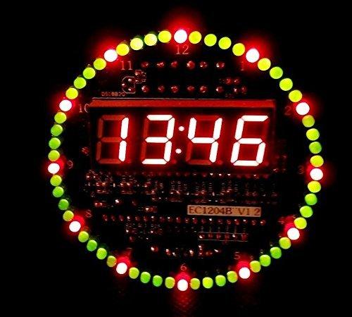 SainSmart LYSB00XU48OLU ELECTRNCS DIY DS1302 Rotating LED Electronic Digital Clock Kit 51 SCM Learning Board 5V xp product image