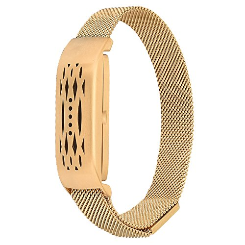 CAGOS Compatible Fitbit Flex 2 Bands, Stainless Steel Milanese Loop Wrist Metal Mesh Replacement Accessory Replacement for Fitbit Flex 2 (Milanese Gold)