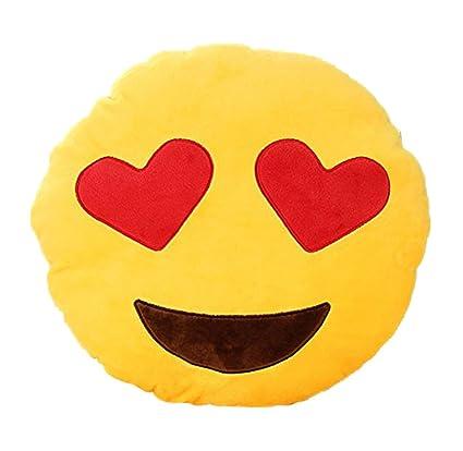 HACBIWA 32cm Emoji Smiley Emoticon Yellow Round Cushion Pillow Soft Toy (Heart-eye)