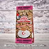 ilyas Gonen Dibek Ground Turkish Coffee/Plain Dibek and 19 Different Flavored (100g / 3,5oz) (Strawberry Flavored Ground Turkish Coffee) -  Dibek Kuru Kahve
