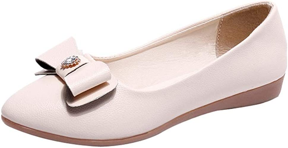 Women Ballet Flats Leisure Loafers Bowknot Slip Ons Low Cut Pointy Toe Shoes Hot