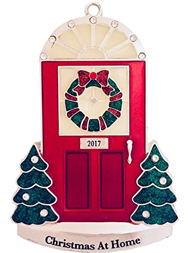 2017 Annual Door (in Black Box) Step Doorway with Glow-in-the-Dark Windows Silver-plated Ornament Harvey Lewis™ - Made with Swarovski® Elements