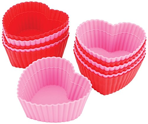 Wilton Heart Silicone Baking Cups, 12 Count - Cupcake Heart Pan Shaped