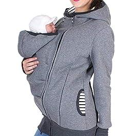 BaZhaHei Women Maternity Baby Pouch Carrier Striped Hoodie Kangaroo Zipper Pregnancy Coat Long Sleeve Childcare Bag Autumn Winter Warm Sweatshirt Gray